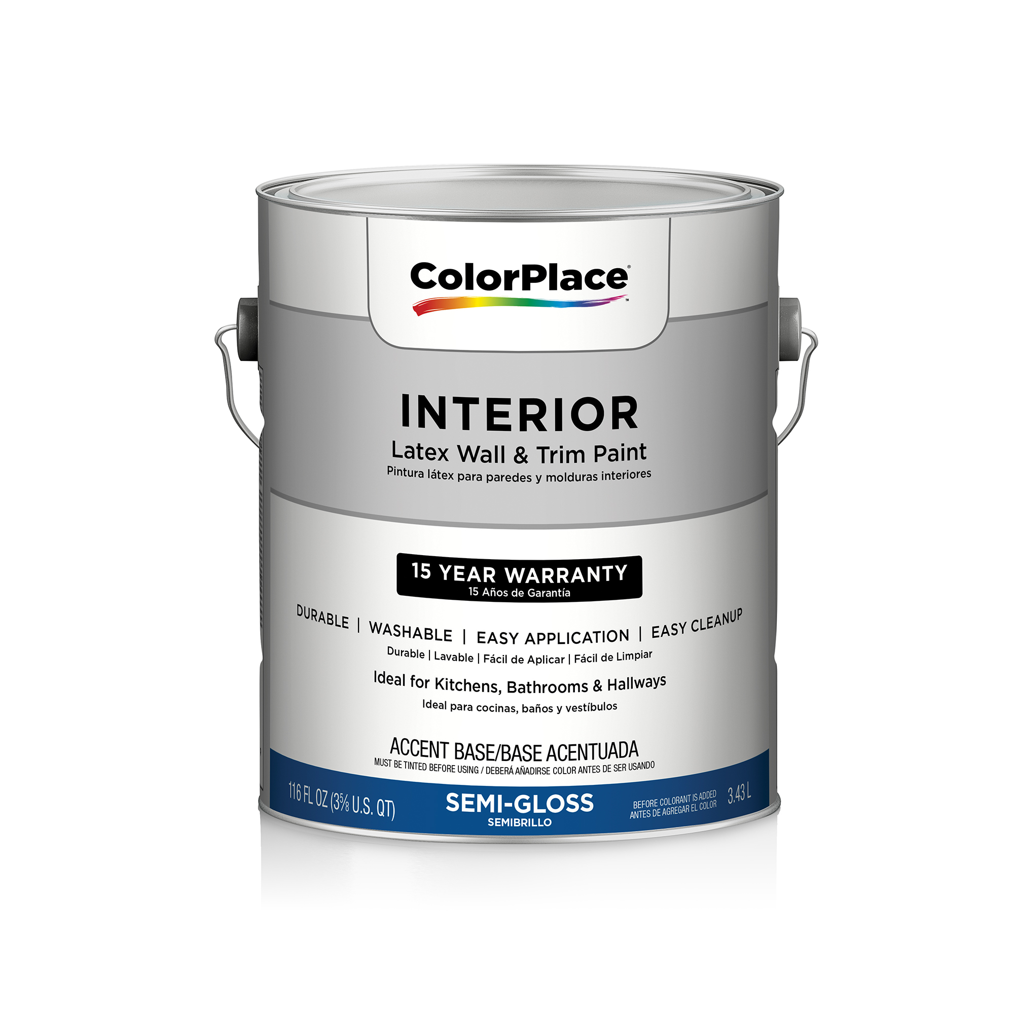 ColorPlace Interior Semi-Gloss Accent Base Paint, 1 Gal