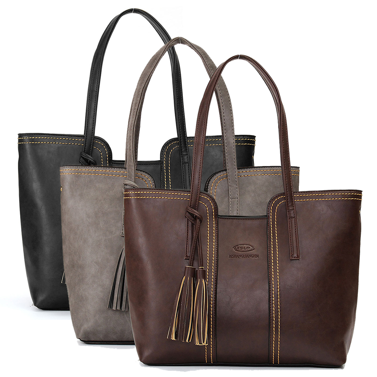 Fashion New Lady Women PU Leather Handbag Shoulder Bags Tote Purse Messenger Bag,Grey color