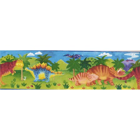 Retro Art Kids Cartoon Dinosaur Baby 15' x 7'' Wallpaper - Halloween Cartoon Wallpaper