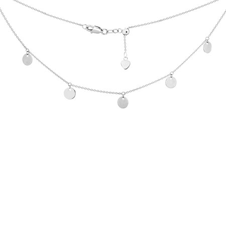 14K White Gold 5 Spaced Shiny Dangeling Disks Charms Choker Necklace. Adjustable 10