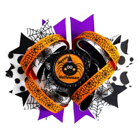 Halloween Orange, Purple and White with Spider Webb Boutique Hair Bow Clip for Gilrs - Halloween Boutique Bows