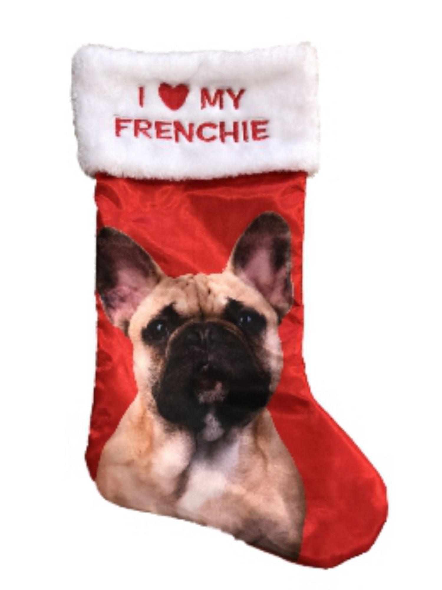 French Bulldog Xmas Stocking Silk Plush I Love My Frenchie Pet Holiday Decor New