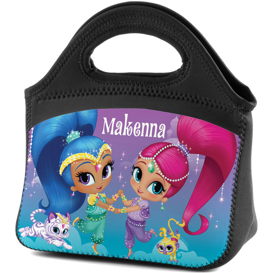 Personalized Shimmer and Shine Sparkle Lunch Tote, Black