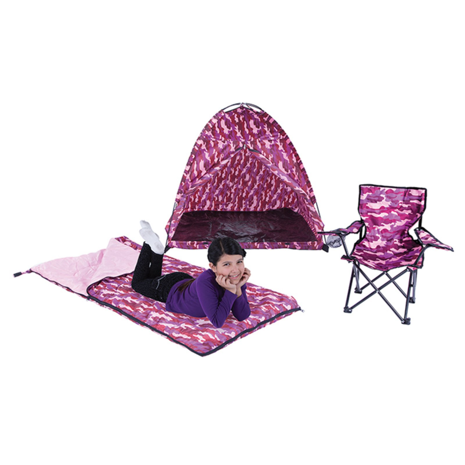 Pacific Play Tents Pink Camo Set, Tent, Chair and Sleeping Bag