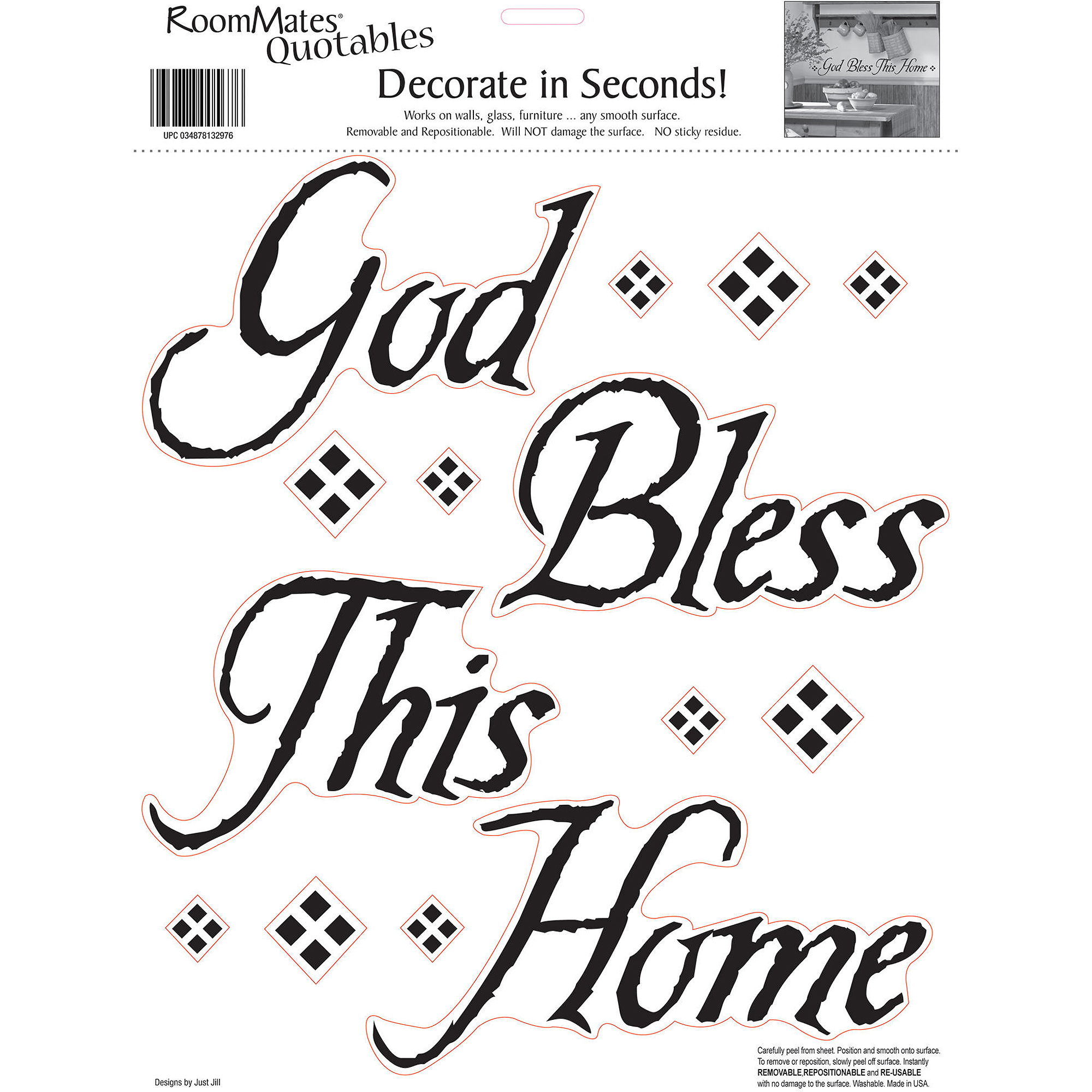 RoomMates God Bless This Home Peel and Stick Wall Decals, Single Sheet