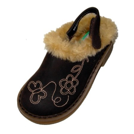 Carters Toddler Girls Brown Fur Trimmed Clogs Dress Shoes