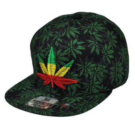 Rasta Wig Hat (Marijuana Weed Leaf Repeat Ganja Rasta Flat Bill Snapback Hat Cap Cannabis)