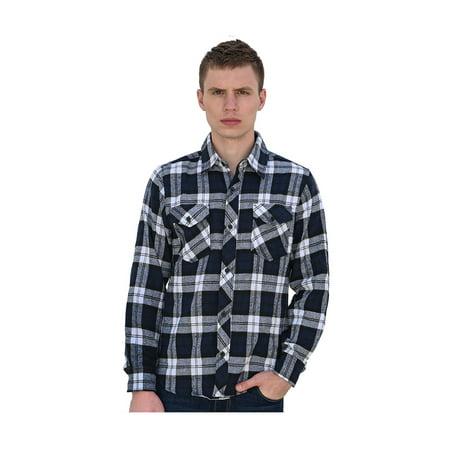Unique Bargains Men's Button Up Plaid Flannel Shirt