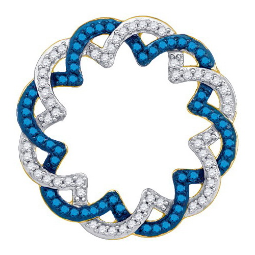 14K Yellow Gold 0.33ctw Fancy Decorated Blue Pave Diamond Twist Round Pendant