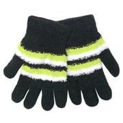 Women Black Yellow White Stripe Butter Gloves