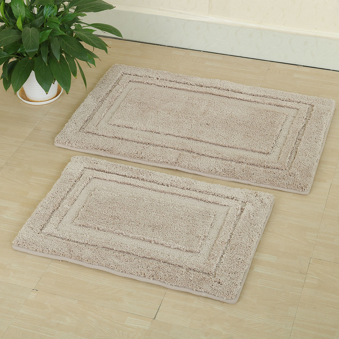 2-Piece Non-slip Bath Rug Set Bath Mat Bathroom Rugs