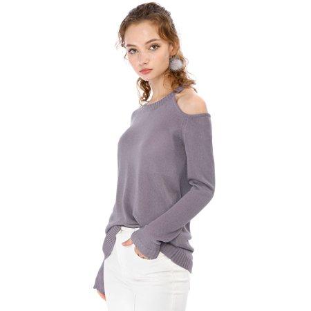 2eeace19bb968 Women s Cold Shoulder T-shirt Cut out Shoulder Knit Tops Purple XL (US 18  ...