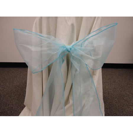 Organza Chair Bow Sashes Wedding Anniversary Party Decoration. BLUE color, Lot of 12 pieces