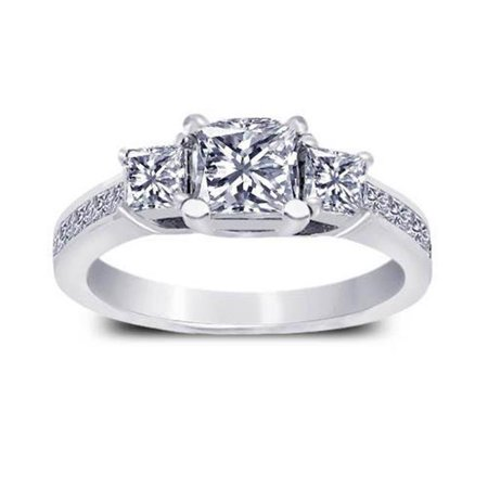 - Harry Chad HC11976 1.91 CT Princess Diamonds Engagement Ring, White Gold 14K - Color F - VS1 & VVS1 Clarity
