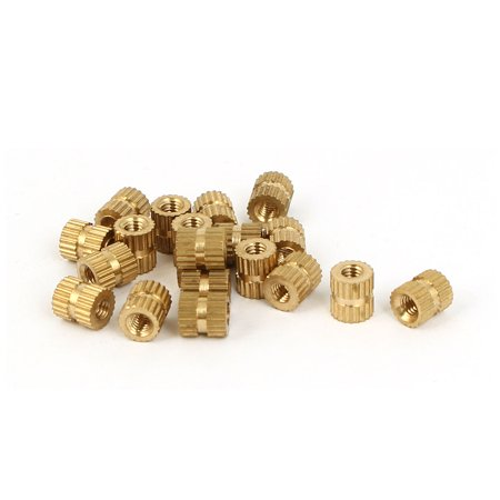 Unique Bargains M3 x 5mm x 6mm Female Thread Insert Embedded Brass Knurled Nuts Gold Tone 20 Pcs