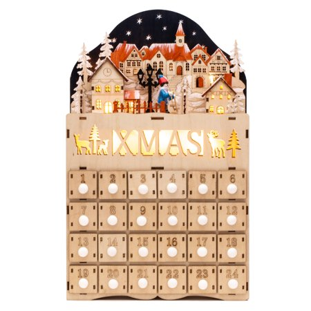 Best Choice Products Wooden Christmas Village Advent Calendar w/ Battery-Operated LED Light Background ()