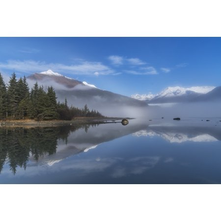 Foggy morning at Mendenhall Lake Tongass National Forest Juneau Alaska United States of America Poster Print by John Hyde  Design - Good Morning America Halloween Pics