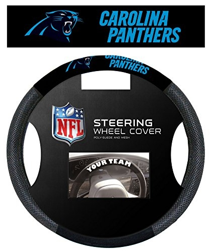Carolina Panthers Poly-Suede Steering Wheel Cover Auto Accessories 15 x 15in