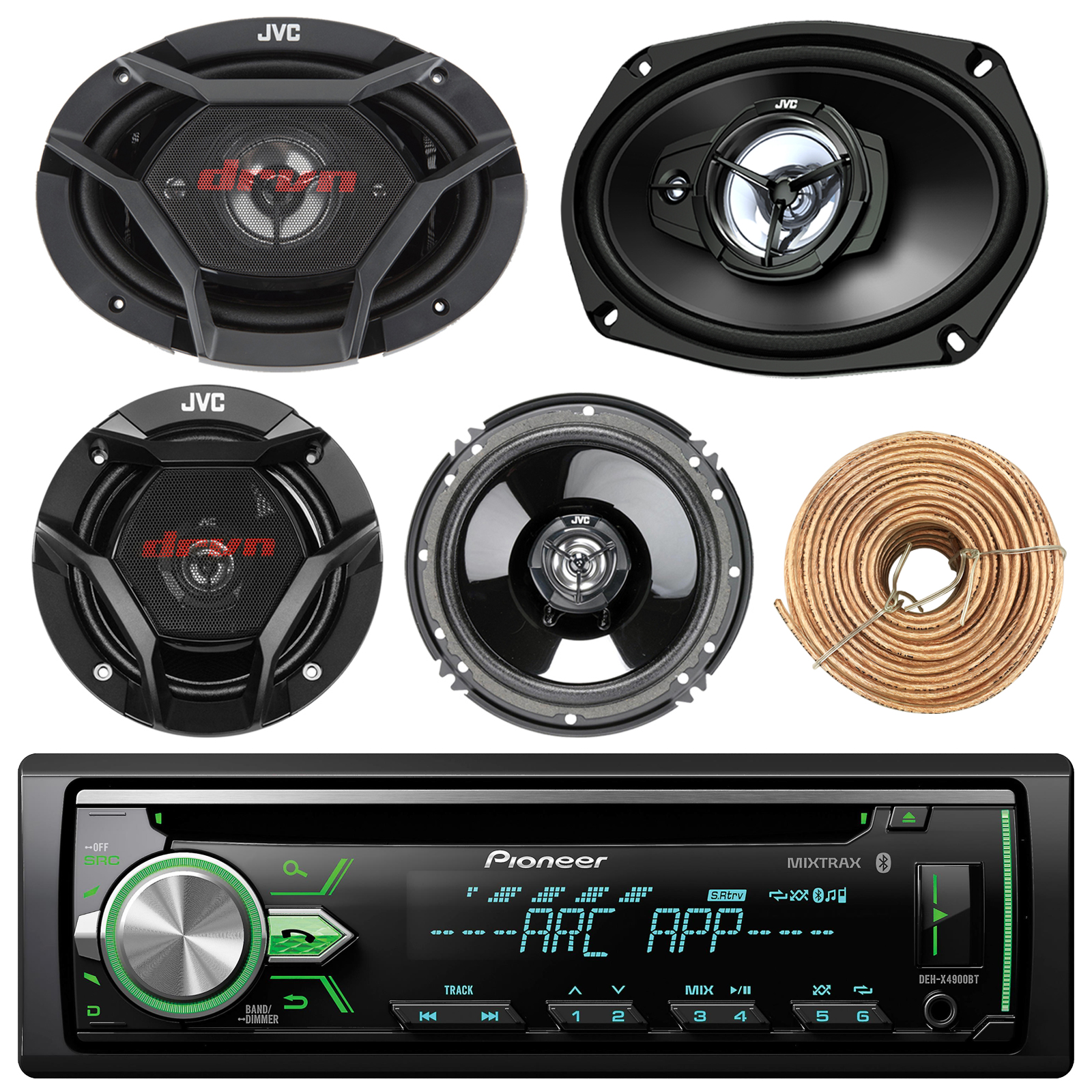 "Pioneer DEH-X4900BT Car Bluetooth Radio USB AUX CD Player Receiver - Bundle Combo With 2x JVC 6x9"" 3-Way Vehicle Coaxial Speakers + 2x 6.5"" Inch 2-Way Audio Speakers + Enrock 50 Ft 18G Speaker Wire"