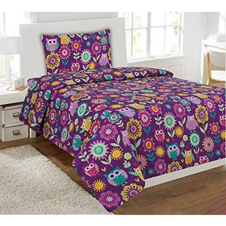 Fancy Linen 3 Pc Girls Purple Owl Flowers Design Luxury Sheet Set Twin New