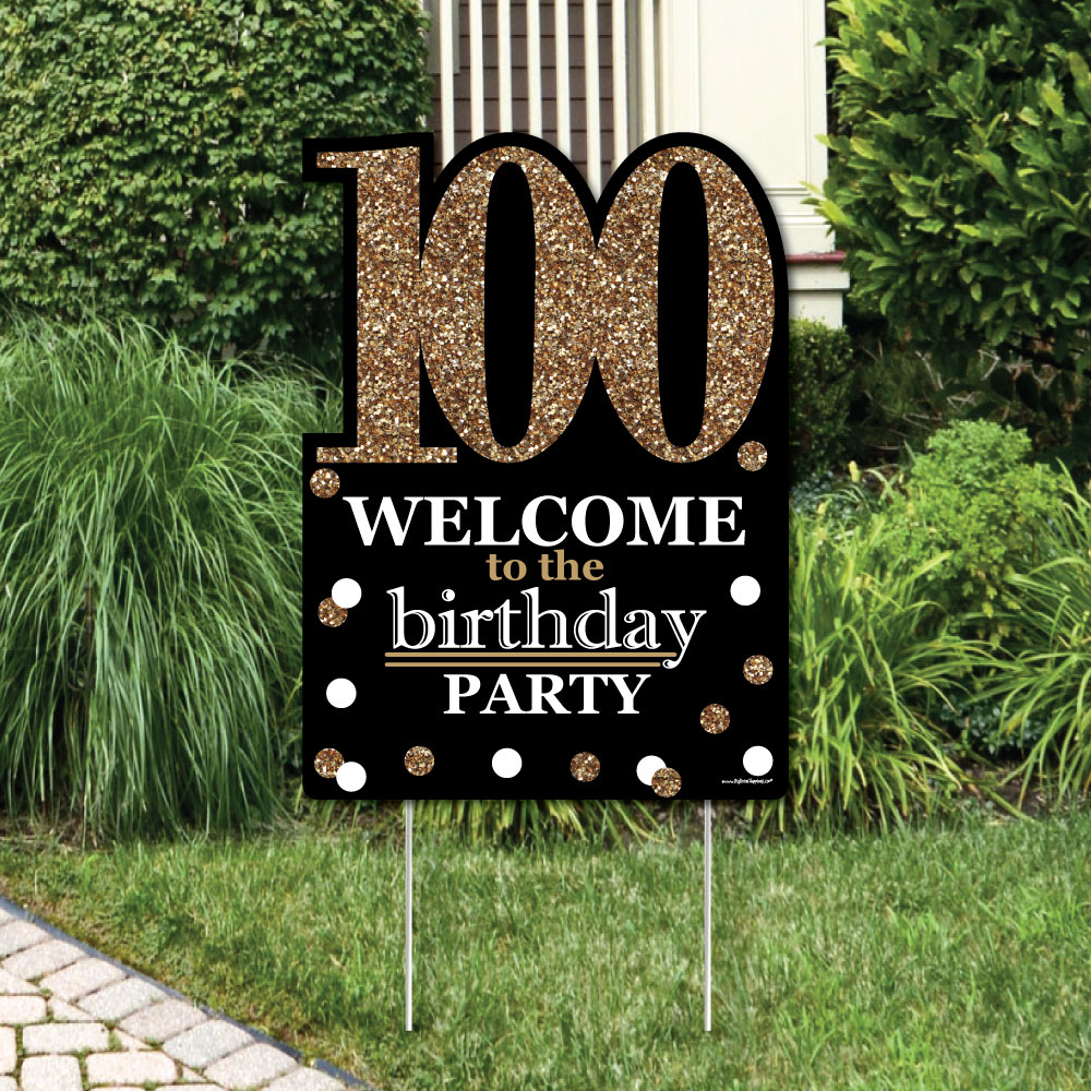 Adult 100th Birthday - Gold - Party Decorations - Birthday Party Welcome Yard Sign