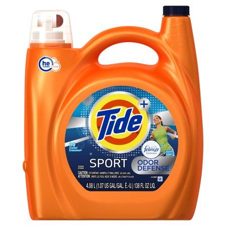 Tide Plus Febreze Sport Odor Defense He Turbo Clean Liquid Laundry Detergent  Active Fresh Scent  89 Loads  138 Oz