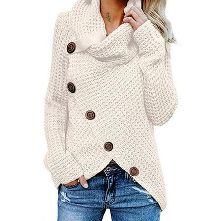 Women's Chunky Turtle Cowl Neck Long Sleeve Asymmetric Hem Oblique button Knitted Sweater Pullover Jumper Cardigan Knitwear Winter Outwear Tops 3 Button Cardigan Sweater