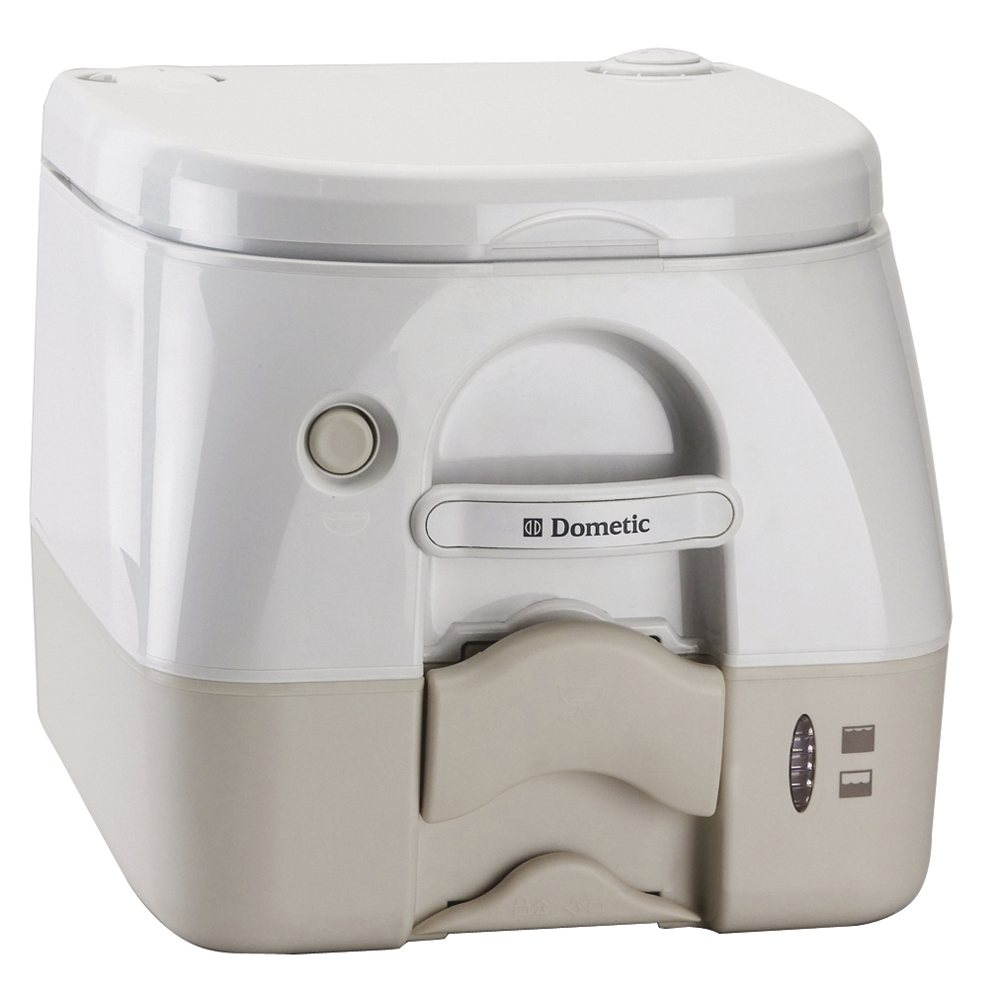 SeaLand 2.5 Gallon Full Size SaniPottie 962 Portable Toilet with Push Button Flush, Tan