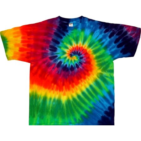 Rainbow T-shirt Tie (Tie Dyed Shop Mens 12 Color Rainbow Spiral Tie-Dye Short Sleeve T-Shirt )
