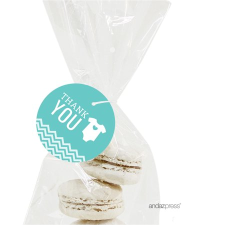 Thank You Diamond Blue Chevron Baby Shower Round Circle Gift Tags, 24-Pack (Name Tags For Baby Shower)