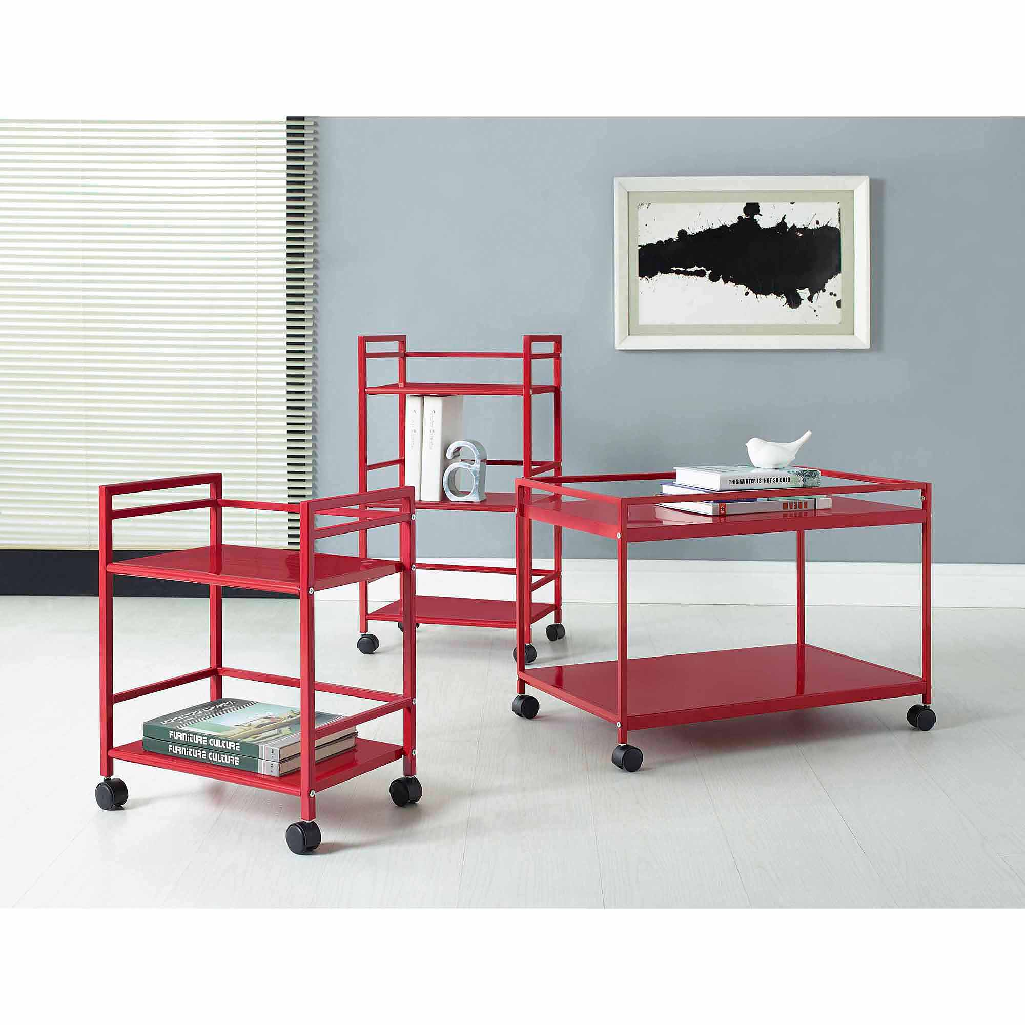 Altra Furniture Marshall Rolling Coffee Table Cart, Multiple Colors
