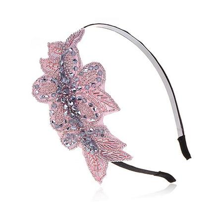 Womens Rose Pink Coral Silver Metallic Handmade Floral Crystal Beaded Headpiece - Pink Headpiece
