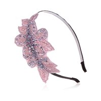 Womens Rose Pink Coral Silver Metallic Handmade Floral Crystal Beaded Headpiece Headband