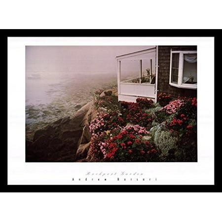 - buyartforless FRAMED Rockport Garden by Andrew Borsari 24x18 Art Print Poster Photograph Beautiful Coastal Beach House with Floral Garden Rocky Cliff Foggy Ocean View