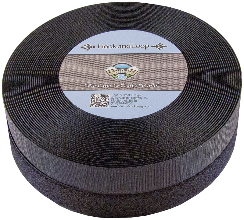 Country Brook Design | 1 1/2 Inch Black Sew on Hook and Loop, 2 Rolls of 3 Yards