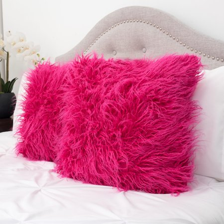 Mongolian Long Hair Faux Fur Decorative Throw Pillow Pair 18