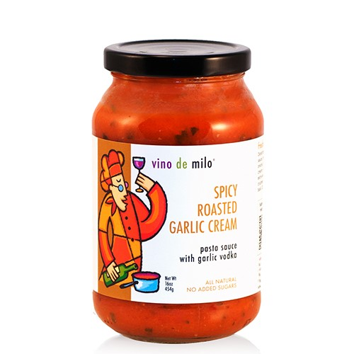 Vino de Milo No Sugar Added Pasta Sauce (16 oz) - Spicy Roasted Garlic Cream Sauce