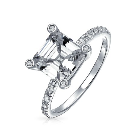 Art Deco Style 3CT Square AAA CZ Side Thin Pave Band Solitaire Asscher Cut Engagement Ring 925 Sterling Silver For Women Cz Square Pave Ring