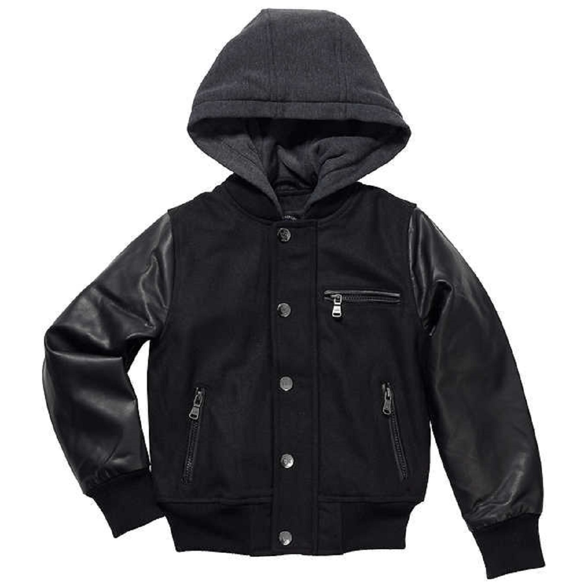 Urban Republic Boy's Novelty Varsity Leather Hooded Jacket (Medium (10/12), Black)