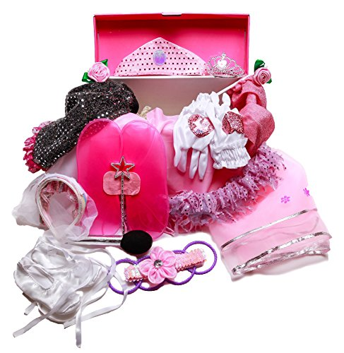 Girls Dress Up Trunk: Princess, Ballerina, Pop Diva, Bride, Fairy costumes for pretend play by MMP Living