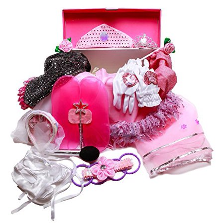 Girls Dress Up Trunk: Princess, Ballerina, Pop Diva, Bride, Fairy costumes for pretend play