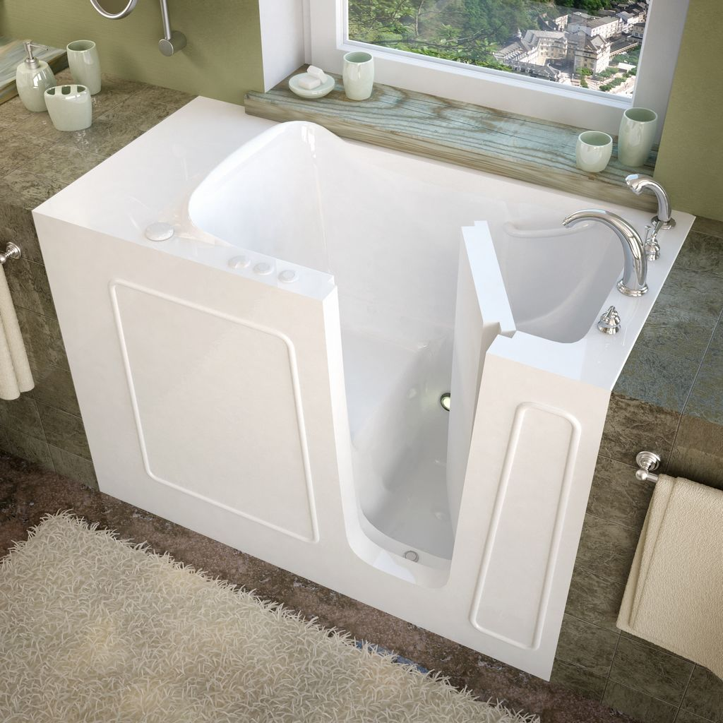 Meditub 26x53 Right Drain White Soaking Walk-In Bathtub