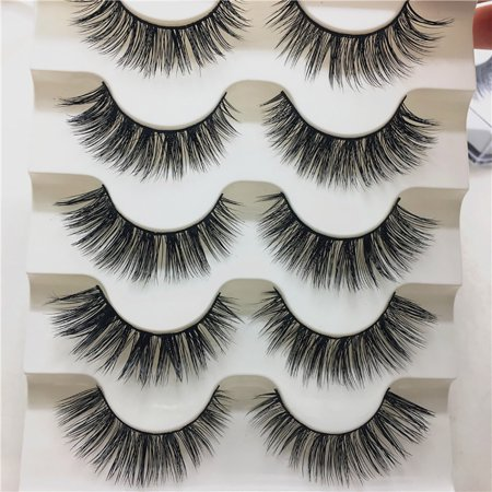 5 Pair 3D Luxury Natural Mink Glue Adhesive Long Fake Eyelashes Pack