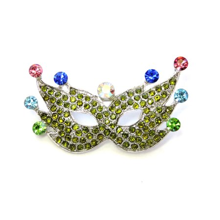 Gorgeous Multicolors Crystal Mardi Gras Mask Pin Brooch