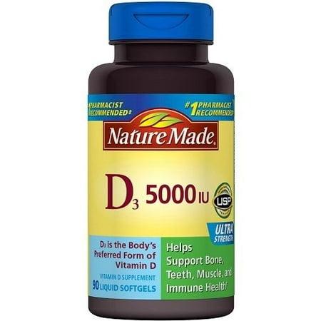 - Nature Made D3 5000 IU Liquid Softgels - 90 CT