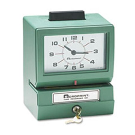 Acroprint Time Recorder 01107040A Model 125 Analog Manual Print Time Clock with Date-0-23 Hours-Minutes - Manual Print Time Recorder