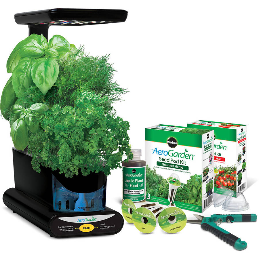 Miracle-Gro AeroGarden Sprout Plus with Gourmet Herbs Seed Pod Kit, Bonus Mighty Mini Tomato Seed Pod Kit and Gardening Shears