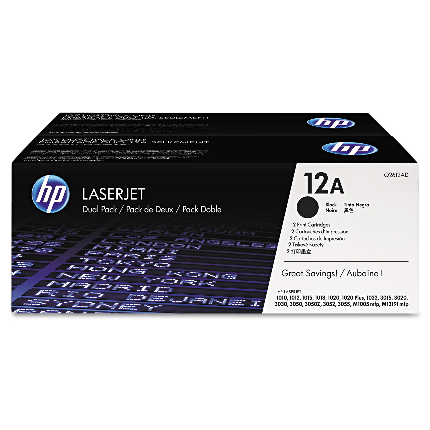 HP 12A, (Q2612D) 2-pack Black Original LaserJet Toner Cartridges -HEWQ2612D