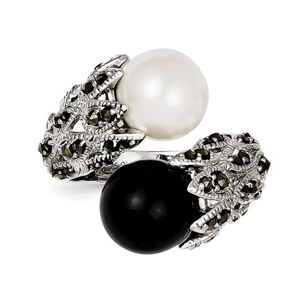 925 Sterling Silver Marcasite Black and White Pearl Ring Size