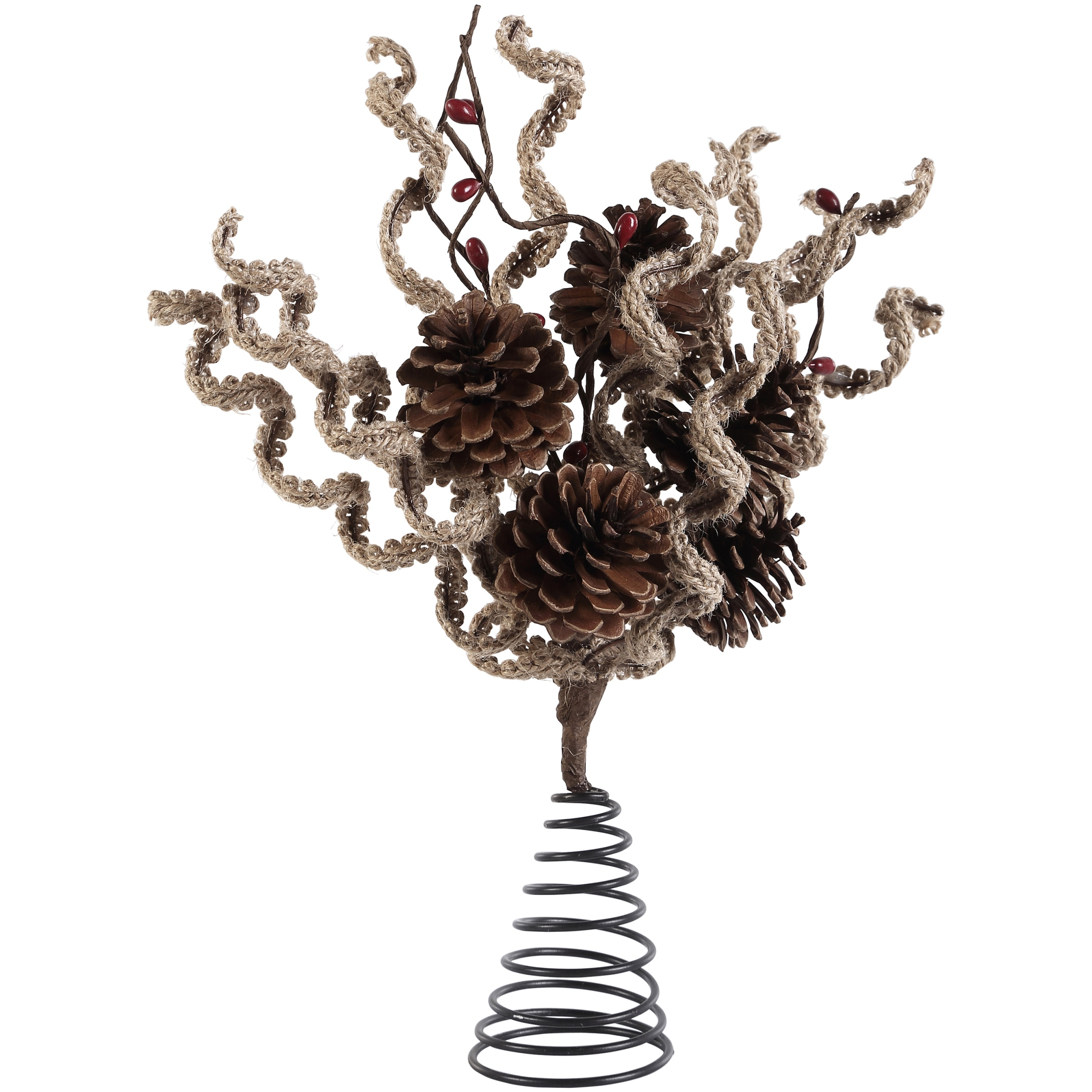 Holiday Time Berry Pine Tree Topper Festive Rustic Design